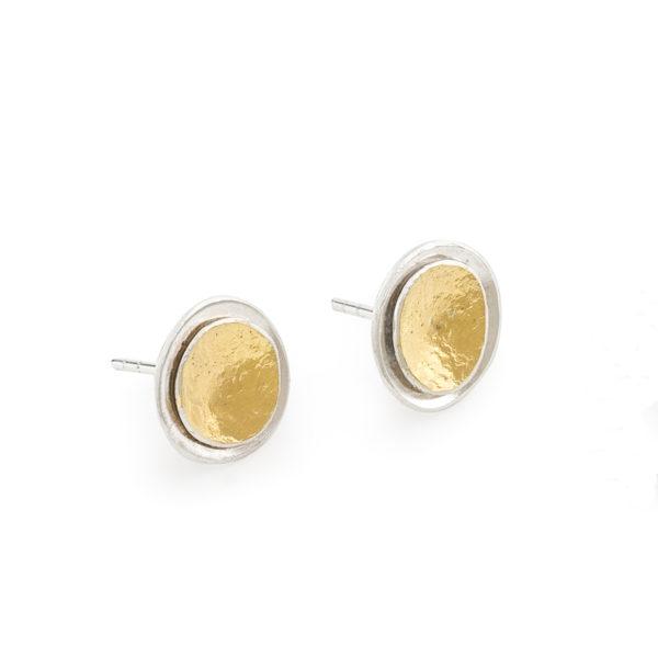 Boucles d'oreilles/puces en argent et or 22 carats RJC, ø 12 mm