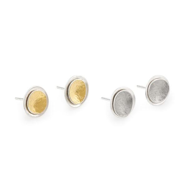 Boucles d'oreilles (puces) en argent et or 22 carats ou palladium RJC, ø 12 mm