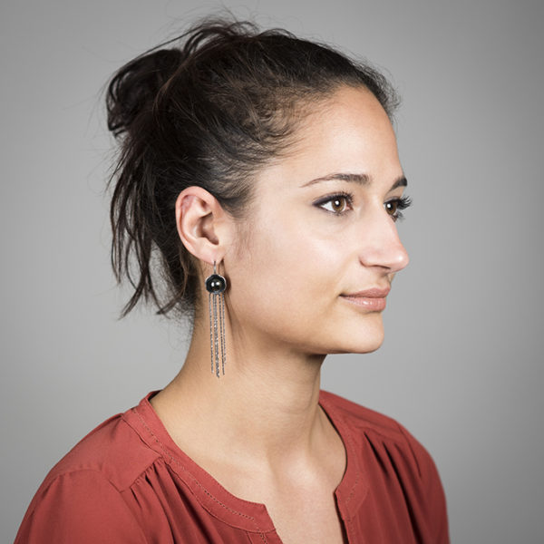 Ohrringe der Kollektion BLACK BLOSSOM aus Silber RJC mit edlen Tahitiperlen