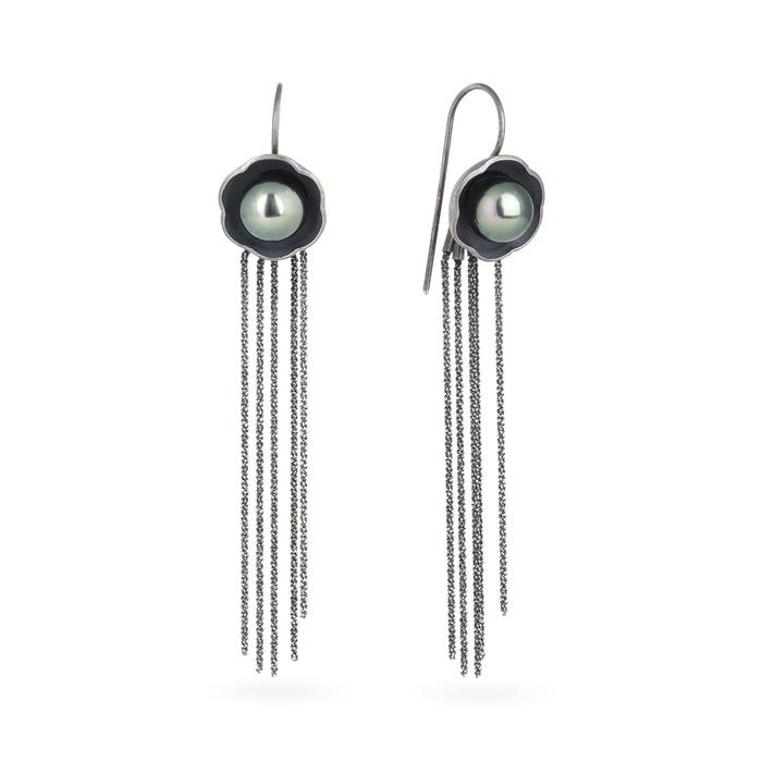 Boucles d'oreilles avec attache dormeuses en argent RJC noirci, avec des perles de Tahiti