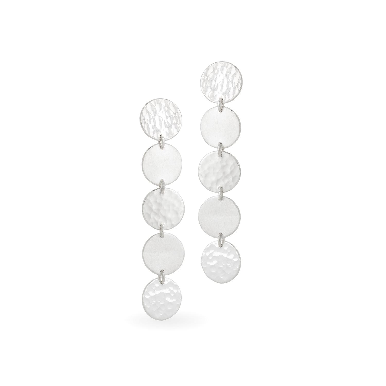 Boucles d'oreilles DOTS-pastille en argent RJC, mat et martelé. Longueur totale 5 cm