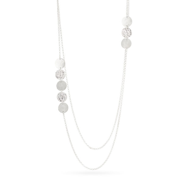 Collier DOTS-Pastille en argent éthique RJC (Responsible Jewelry Council), mat et poli/martelé