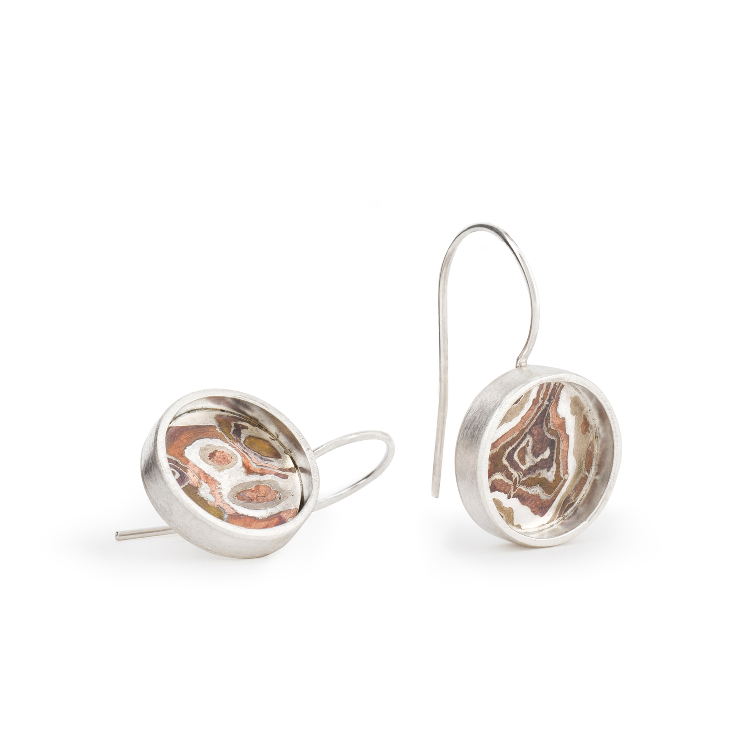 Boucles d'oreilles dormeuses EARTH en argent RJC et Mokumé Gané,