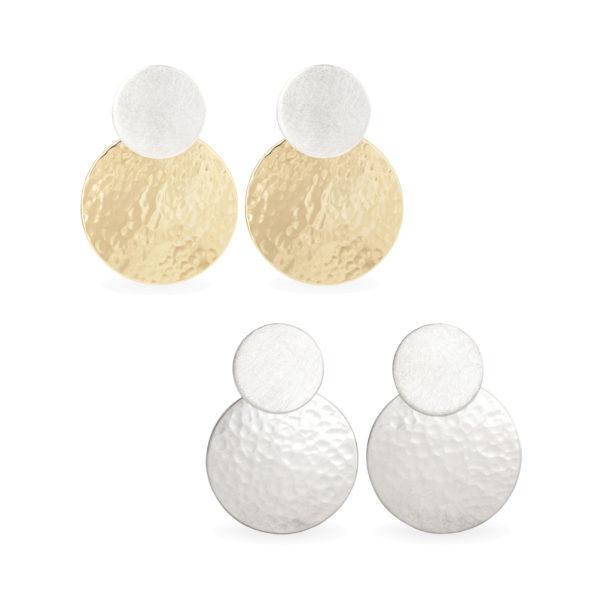 Boucles d'oreilles DOTS avec deux disques, mat et martelé/poli. En argent RJC uniquement ou argent plaqué or.