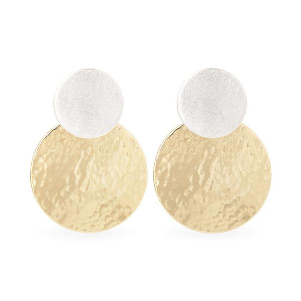 Boucles d'oreilles avec deux pastilles en argent et plaqué or, RJC (Responsible Jewellery Council)