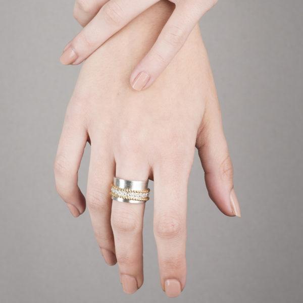 Bagues RING-GARDEN-Fleur en argent ou argent/plaqué or (argent éthique)