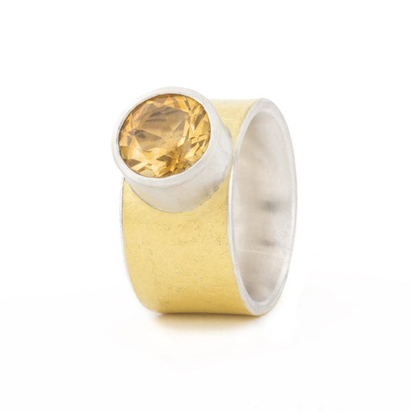 Bague MOUNTAIN-large en argent et or 22 cts éthique, avec une citrine ø 10 mm