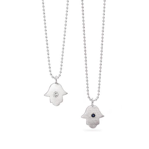 Halskette DELHI-Hamsa aus ethischem Silber mit weisem Topaz oder blauem Safir