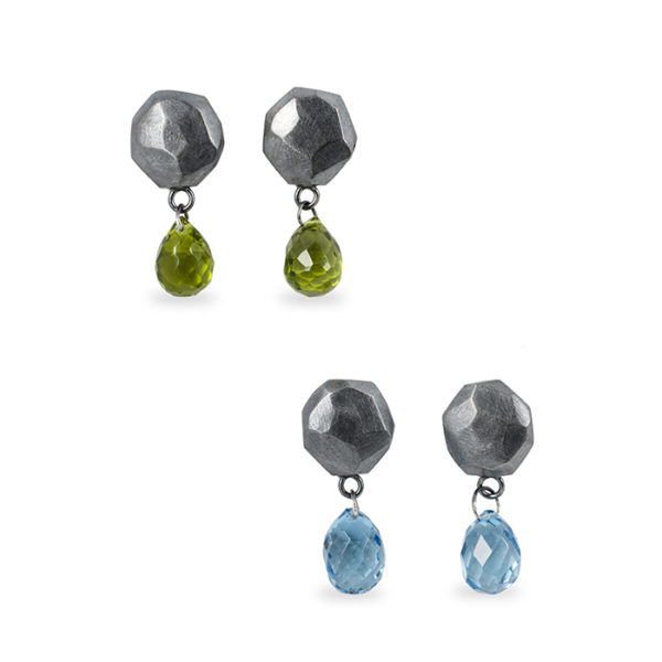 Earrings ALANA in tarnished and recycled sterling silver, with peridot or blue London topas