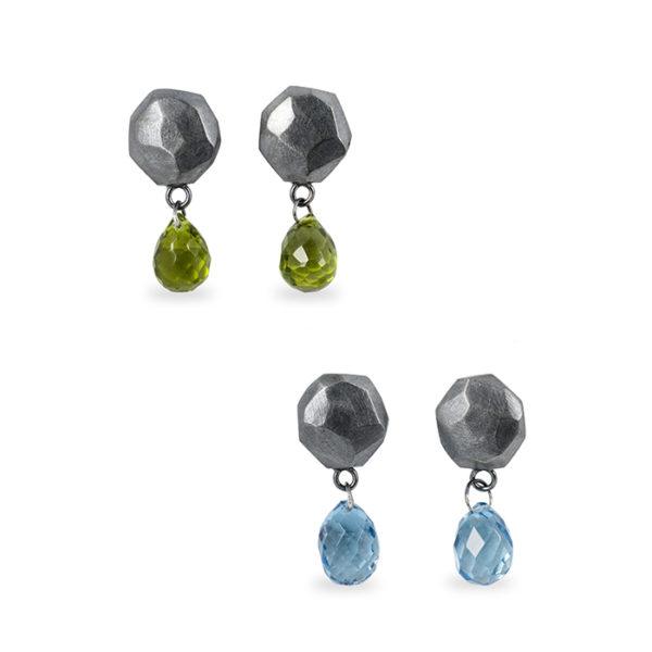 Boucles d'oreilles ALANA en argent noirci recyclé, avec péridot et topaz blue London