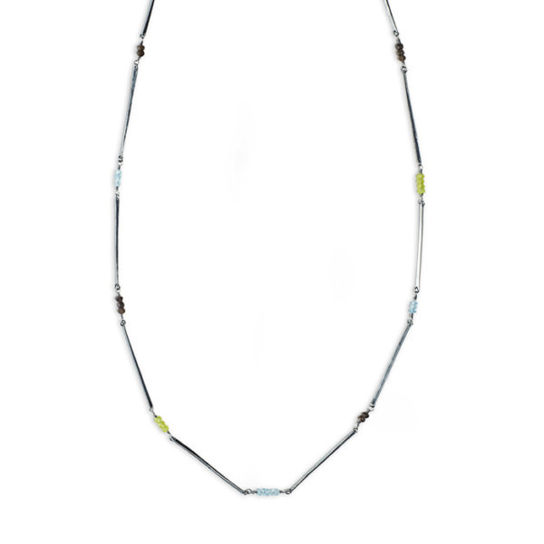 Necklace ALANA in tarnished and recycled sterling silver, with peridot, smoky quartz and blue London topas