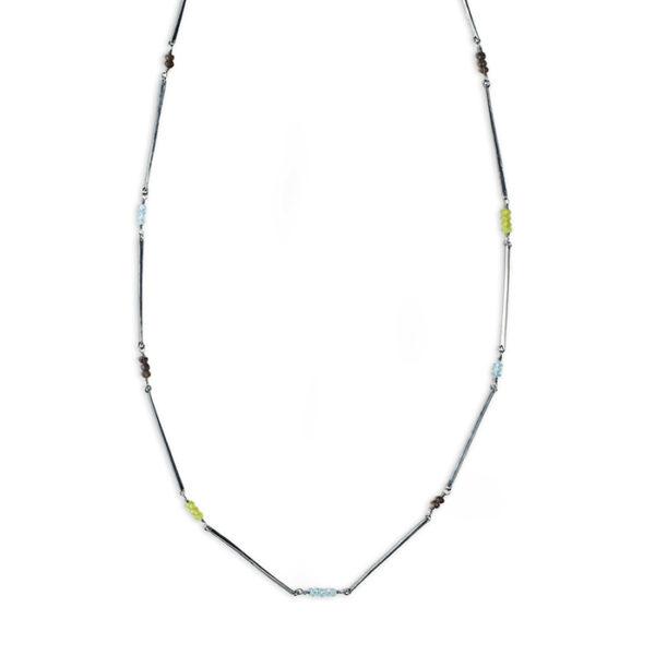 Halskette ALANA aus geschwärztem nachhaltigem Silber RJC mit Peridot, Rauchquarz und Blue London Topas