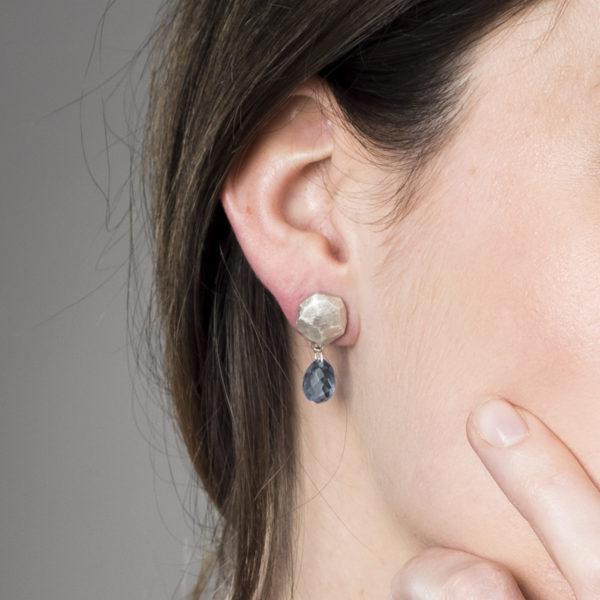 Boucles d'oreilles ALANA mat avec topaze