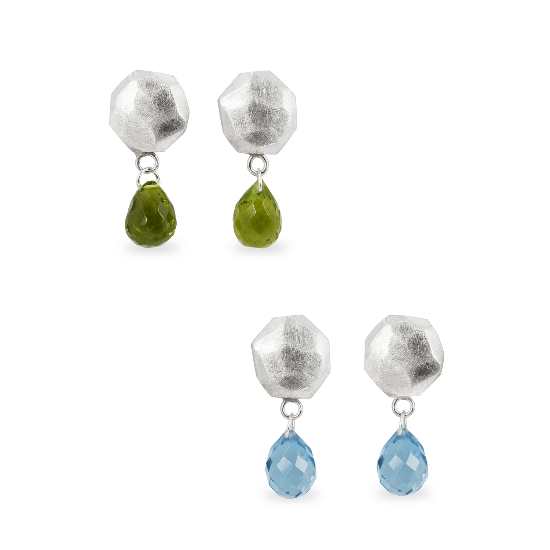 Boucles d'oreilles ALANA en argent mat, avec péridot ou topaze bleu