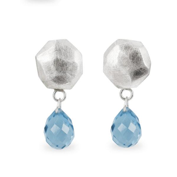 Boucles d'oreilles ALANA en argent mat, avec topaze bleu