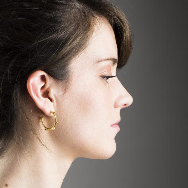 Boucles d'oreilles DELHI en argent plaqué or 24 ct