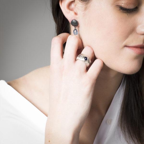 Boucles d'oreilles et bague en argent, avec topaze, de la collection ALANA