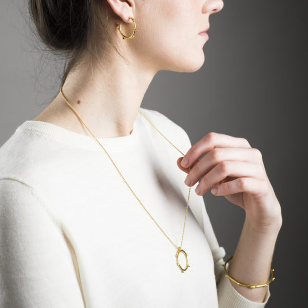 Earrings, necklace and bracelet in sustainable sterling silver, gold plated