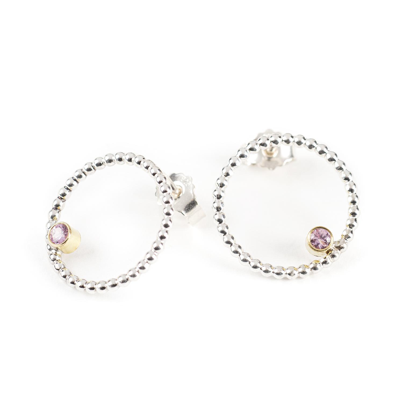 Boucles d'oreilles DELHI avec un saphir rose, en argent et or 18 cts équitable RJC