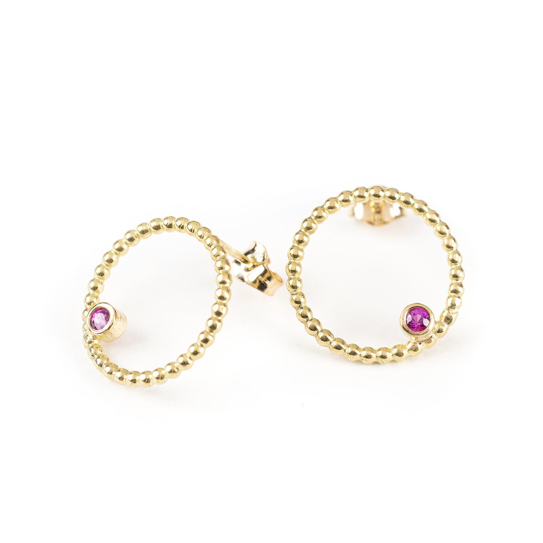 Boucles d'oreilles DELHI en or jaune 18 cts, avec des rubis