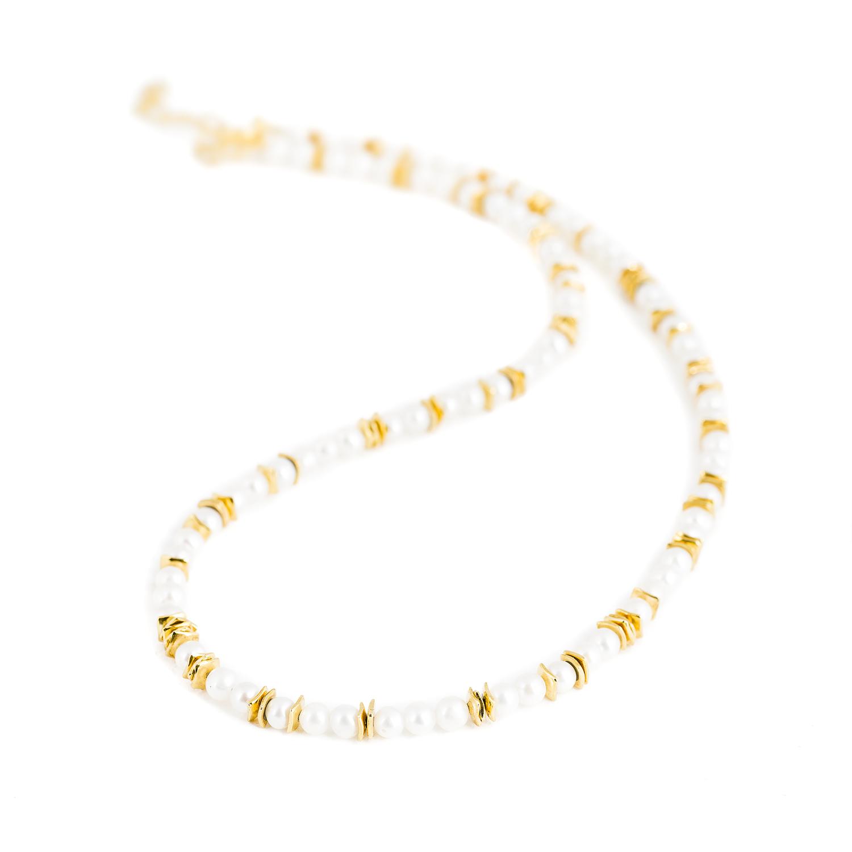 Collier (tour de cou) en argent équitable (RJC), plaqué or, avec des perles de culture