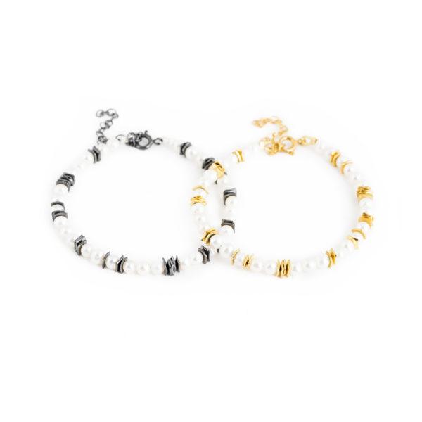 Bracelets en argent noirci ou plaqué or, avec perles de culture