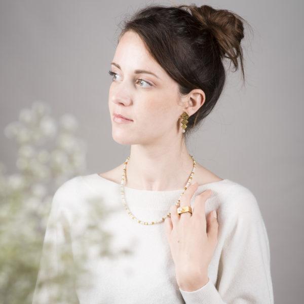 """Parure """"Aventure de perles"""" en argent équitable plaqué or, avec des perles de culture"""