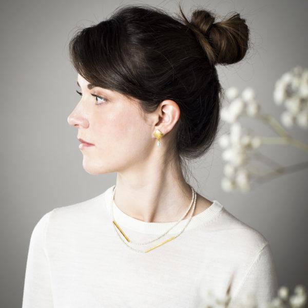 Ohrringe und Kette aus nachhaltigem Silber, vergoldet, mit Kulturperlen