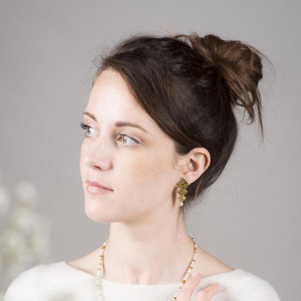 Boucles d'oreilles en argent plaqué or, avec des perles de culture