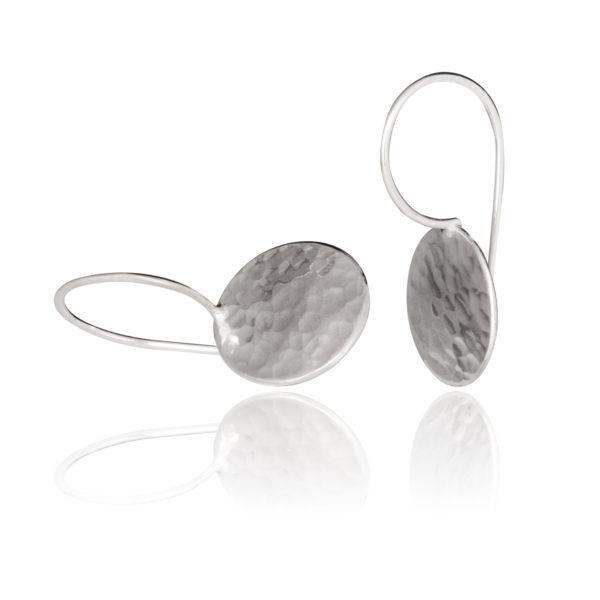 Boucles d'oreilles DOTS en argent équitable, dans leur version poli/martelé