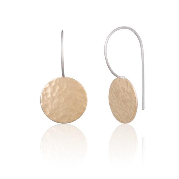 Schlichte Ohrhänger aus Bi-Metall Silber/Gelbgold 900, poliert und gehämmerte Oberfläche