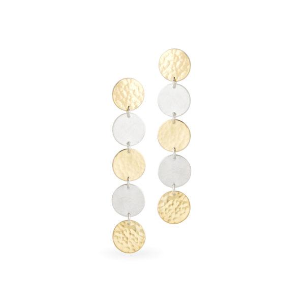 Ohrringe DOTS aus nachhaltigem Silber und Gelbgold 900, Länge 5 cm