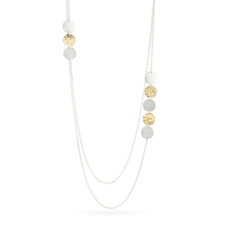 Delikate Halskette DOTS aus nachhaltigem Silber und Gelbgold 900, Länge 51 cm